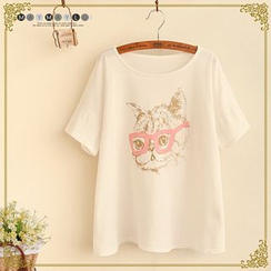 Maymaylu Dreams - Cat Print Short-Sleeve T-Shirt