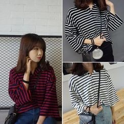Windflower - 3/4-Sleeve Striped T-Shirt