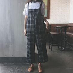 QZ Lady - Cropped Plaid Jumper Pants