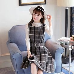 Ashlee - Set: Mock Neck Long-Sleeve Knit Top + Check Pinafore Dress
