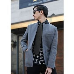 MODSLOOK - Wool Blend Mandarin-Collar Jacket