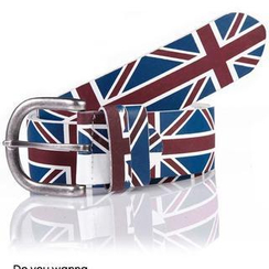 SeventyAge - England Flag Print Faux Leather Belt
