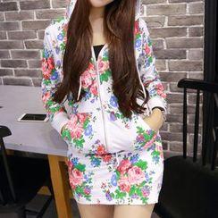 Renee - Set: Floral Print Zip Hoodie + Miniskirt