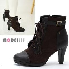 MODELSIS - Panel Side-Zip Ankle Boots