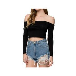 Richcoco - Off-Shoulder Crop Top