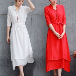 Diosa - Linen-blend Split-neck Elbow-Sleeve Dress