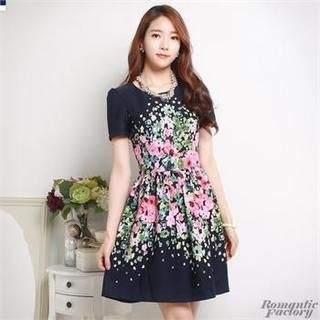 Romantic Factory - Short-Sleeved Floral Print Dress