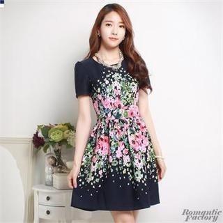 Romantic Factory - Short-Sleeved Floral Print Dress