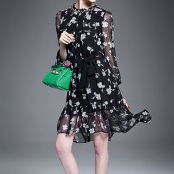 Alaroo - Floral Print Silk Dress with Sash