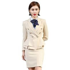 Aision - Double-Breasted Jacket / Shirt / Pencil Skirt