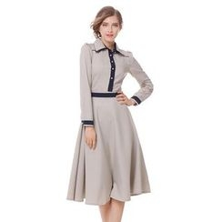 Rebecca - Contrast Trim Collared Long Sleeve Dress