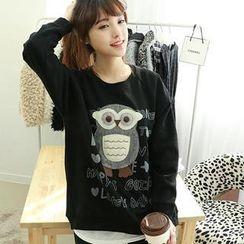 Dodostyle - Owl-Appliqué Brushed-Fleece Top