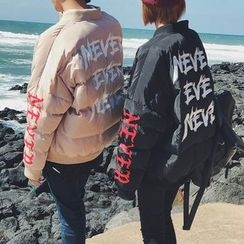 qiaqiayes - Couple Matching Lettering Padded Jacket