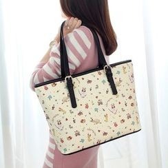 Princess Carousel - Faux Leather Print  Tote Bag