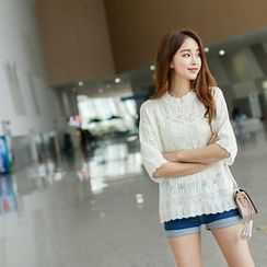 BONGJA SHOP - Scalloped-Hem Lace Knit Top
