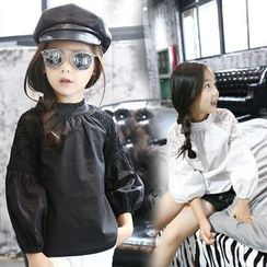 Kiroro - 童裝蕾絲拼接長袖襯衫