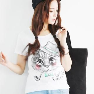 rico - Short-Sleeve Cat-Print T-Shirt