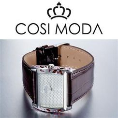 COSI MODA Stainless Steel Genuine Leather Strap Watch with Cubic Zirconia
