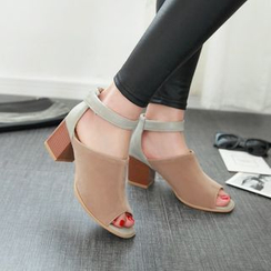 JY Shoes - Ankle Strap Block Heel Sandals