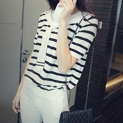 Coralie - Tie Front Striped Short Sleeve T-Shirt