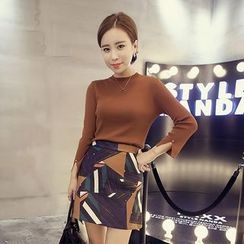 QZ Lady - Set: 3/4-Sleeve Knit Pullover + Patterned Skirt