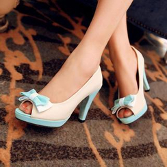 Pastel Pairs - Two-Tone Bow Accent Peep-Toe Pumps