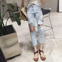時尚麻豆家 - 鏤空水洗直身牛仔褲