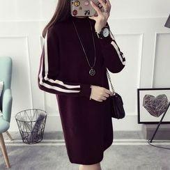 Qimi - 长袖条纹针织连衣裙
