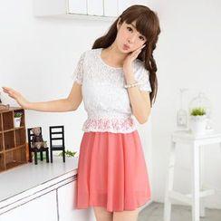 59 Seconds - Lace Panel Chiffon Short Sleeve Dress