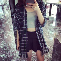 Eva Fashion - Oversized Plaid Shirt