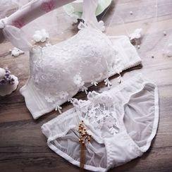 HYG Lingerie - Set: Lace Panel Bra + Panties