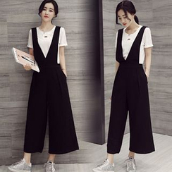 Ashlee - Set: Plain Short-Sleeve T-Shirt + Wide Leg Jumper Pants