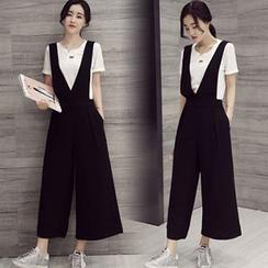 Ashlee - 套装: 纯色短袖T裇 + 背带宽腿连体裤