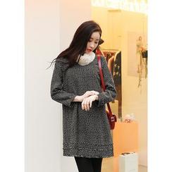 J-ANN - Fringed-Trim Tweed Dress