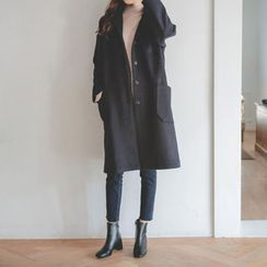 JUSTONE - Notched-Collar Buttoned Wool Blend Coat