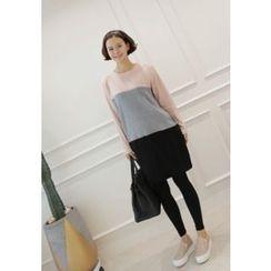 Lemite - Round-Neck Color-Block Shift Dress