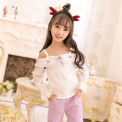 Candy Rain - Kids Lace Trim Embellished Cold Shoulder Long-Sleeve T-Shirt
