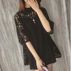 Eva Fashion - Set: Elbow-Sleeve Lace Panel Dress + Slipdress