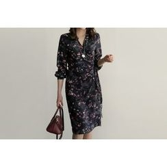 UPTOWNHOLIC - Wrap-Front Floral Print Dress