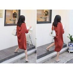 MARSHMALLOW - Draped-Back Wool Blend Knit Dress