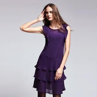 Le Teresa - Sleeveless Ruffle Chiffon Dress