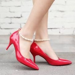 Wello - Faux Pearl Ankle Strap Pointy Patent Pumps