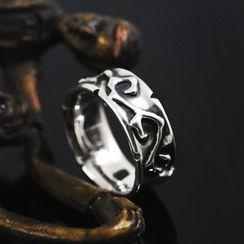 Sterlingworth - Couple Thorn Vine Embossed Sterling Silver Ring(for Men)