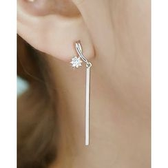 Miss21 Korea - Rhinestone Bar Drop Earrings