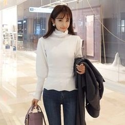DABAGIRL - Turtle-Neck Puff-Sleeve Knit Top