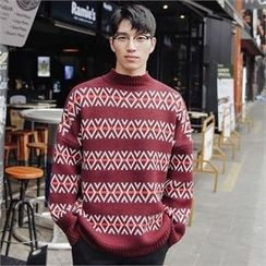STYLEMAN - Patterned Round-Neck Sweater