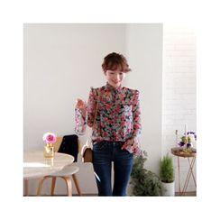 LEELIN - Floral-Pattern Chiffon Blouse