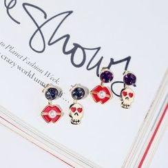 Kulala - Rhinestone Non-Matching Earrings