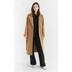 Someday, if - Open-Front Wool Blend Coat with Sash