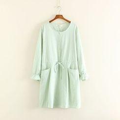 Mushi - Buttoned Drawstring Waist Long Sleeve Dress